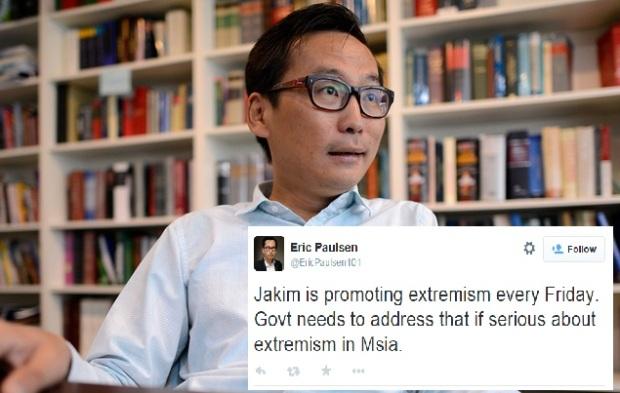 Eric Paulsen membuat kenyataan dalan twitternya menuduh JAKIM sedang menyebarkan ekstrimisme melalui khutbah Jumaat.
